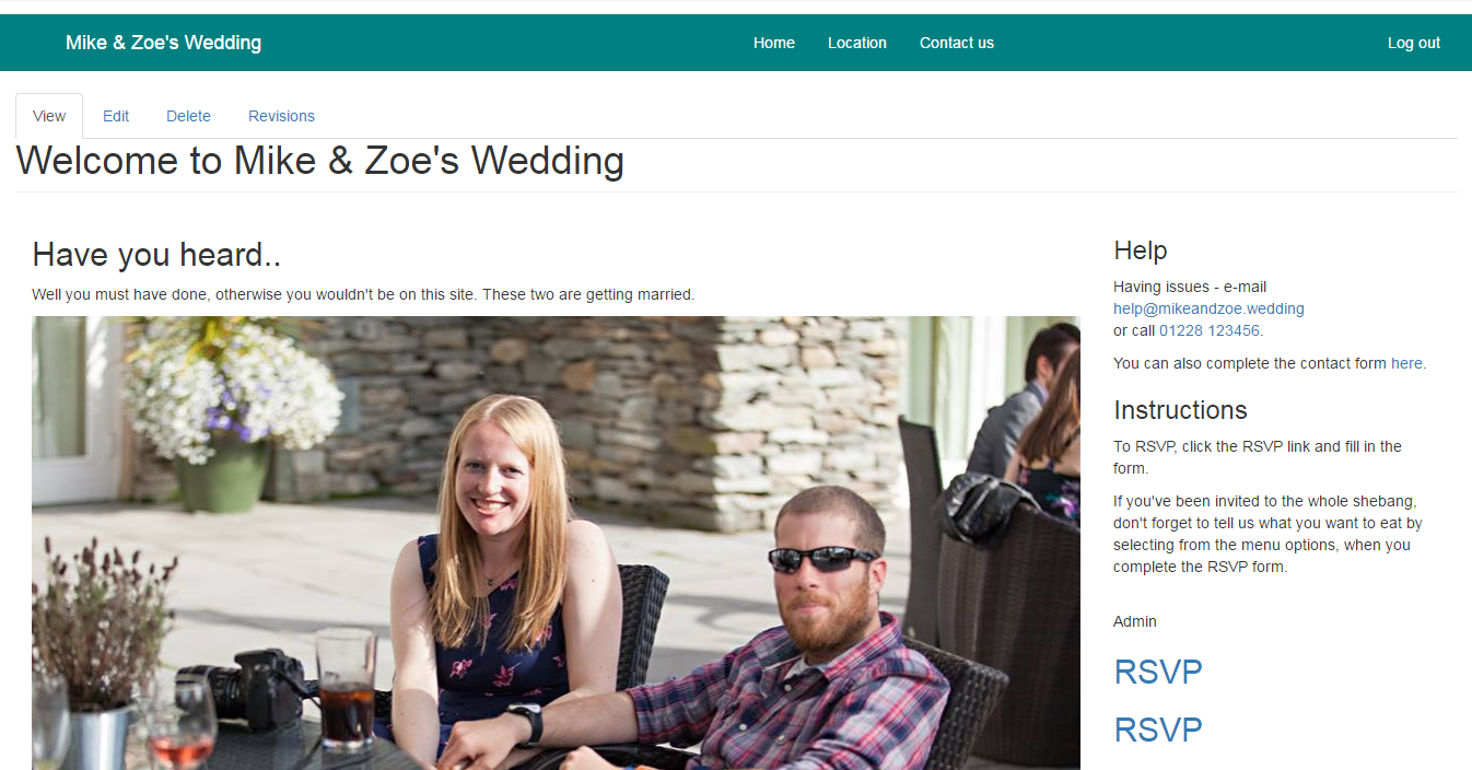 Mike and Zoe wedding rsvp site